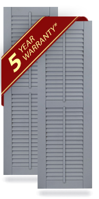 Equal Louver Composite Shutters w/Faux Tilt Rod