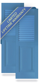 Louver Top / Raised Panel Bottom Architectural PVC Shutters