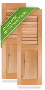 Louver Top / Raised Panel Bottom Wood Shutters