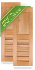 Raised Panel Top / Louver Bottom Wood Shutters