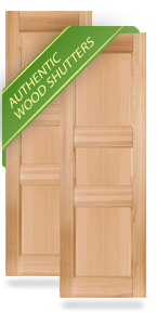 Three Flat Panel Small Center Wood Shutters
