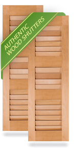 Three Louver Small Center Wood Shutters