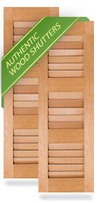 Three Equal Louver Wood Shutters