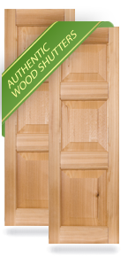 Three Raised Panel Small Top Wood Shutters