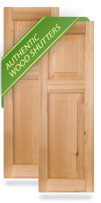 Offset Raised Panel Wood Shutters